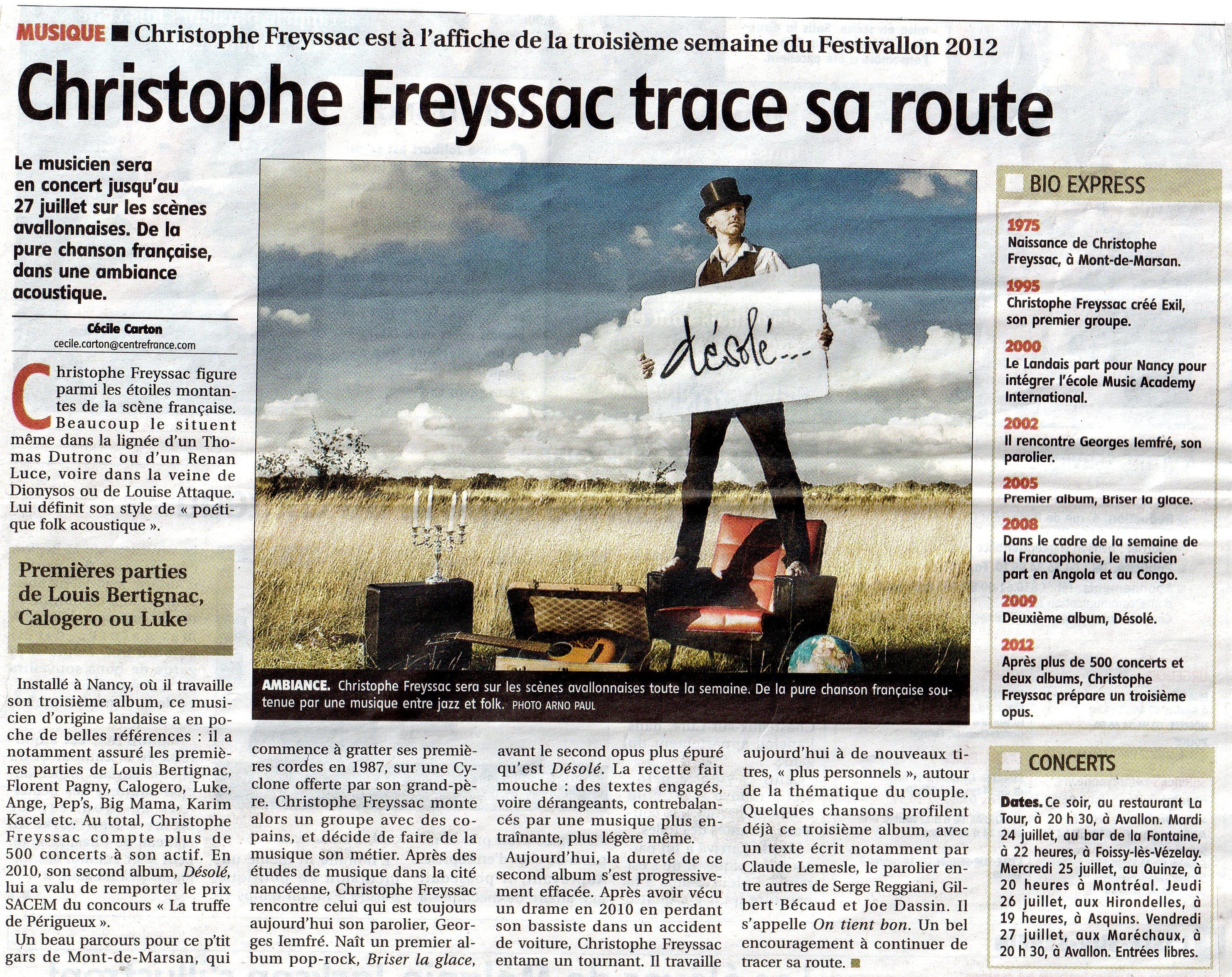 Christophe FREYSSAC trace sa route