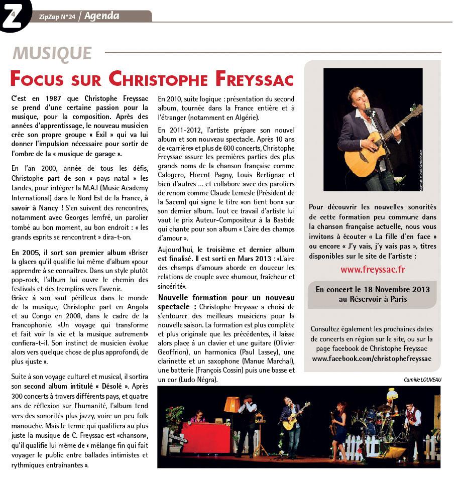 Focus sur Cristophe FREYSSAC (ZIP-ZAP n°24)